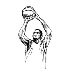 Hand sketch man playing basketball vector