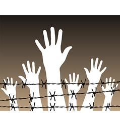 Hands behind a barbed wire prison vector