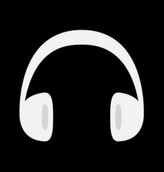 Headphones earphones icon white silhouette music vector