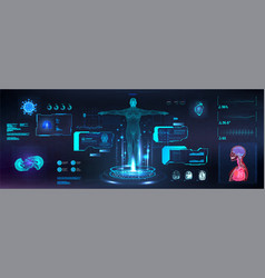 Healthcare infographics body scan in hud style vector