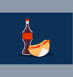Hot dog with coke vector