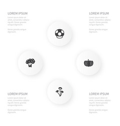 icon veggies set of tree fungus gourd and other vector image
