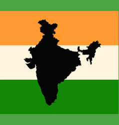 india flag and outline map vector image