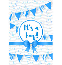 its a boy bashower greeting card with flags vector image