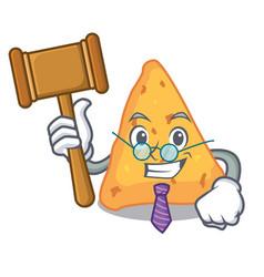 Judge nachos mascot cartoon style vector