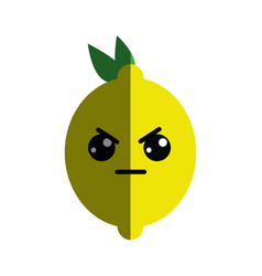 Kawaii nice angry lemon icon vector
