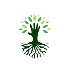 Kid hand tree root logo icon vector