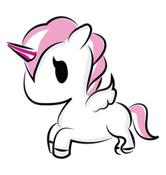 Little unicorn on white background vector
