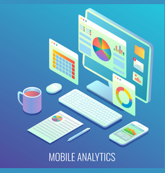 mobile web analytics concept flat isometric vector image