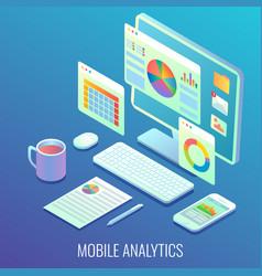 Mobile web analytics concept flat isometric vector