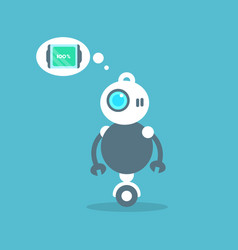 Modern robot full battery charge message vector