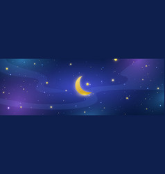 night sky long banner half moon and stars in vector image