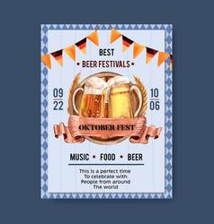 Oktoberfest poster design with flag beer barley vector