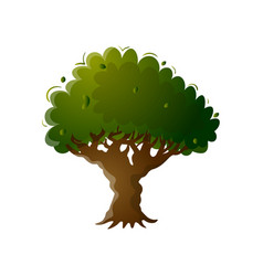 old colorful green tree with brown stump and deep vector image