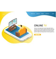 Online tv landing page website template vector