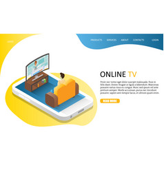 online tv landing page website template vector image