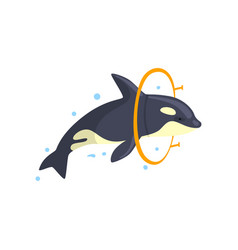 Orca jumping through a ring sea animal performing vector