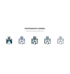 Photograph camera icon in different style two vector