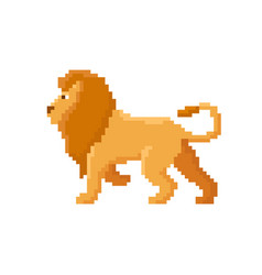 pixel lion isolated on white background vector image