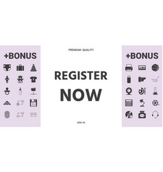 Register now button - graphic elements for your vector