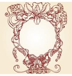 Round floral design frame vector image
