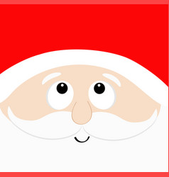 santa claus head face looking up red hat beard vector image
