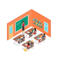 School room with teacher and children at desks vector
