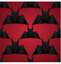 seamless pattern with 3d of origami bat on red vector image