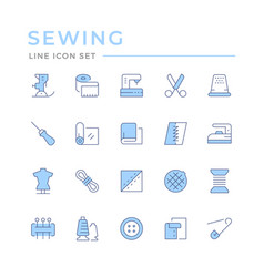 Set color line icons sewing vector