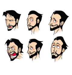 Set of emotions of a bearded cartoon man vector