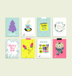 set of hand drawn christmas card templates vector image