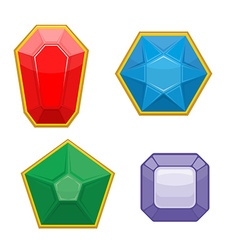 Set of precious stones Emerald and Ruby Sapphire vector image