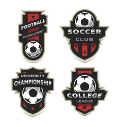 set of soccer football logo emblem vector image