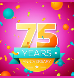 seventy five years anniversary celebration design vector image