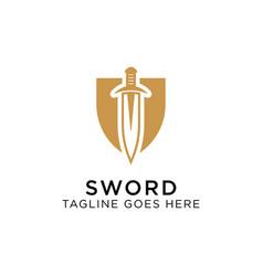 shield sword guardian logo template vector image