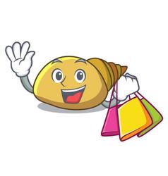 Shopping mollusk shell character cartoon vector