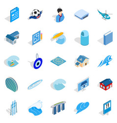 Singapore icons set isometric style vector