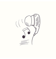 Sketched earphone with music desktop icon vector