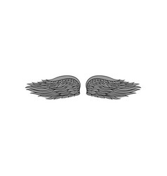 Small bird or angel wings with gray feathers vector
