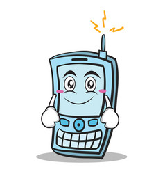 Smile face phone character cartoon style vector