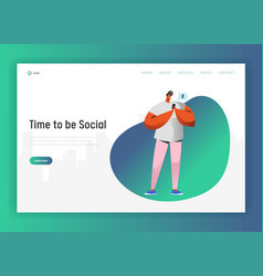 Social network landing page template man character vector