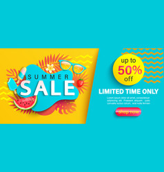summer big sale banner on geometric background vector image