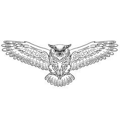 Swooping great horned owl vector
