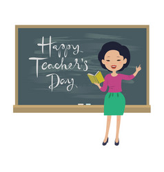 Teachers day greeting card asian teacher vector