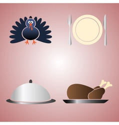 Thanksgiving food color symbols eps10 vector