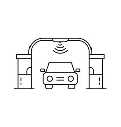 thin line freeway with toll checkpoint gate vector image