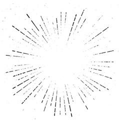 True vintage sunburst ray explosion halftone vector