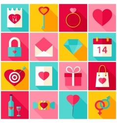 Valentine Day Love Colorful Icons vector