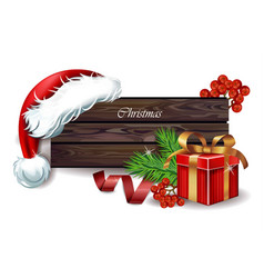 wood sign for winter holidays background vector image