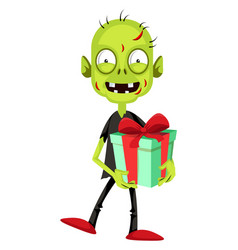 Zombie with present on white background vector